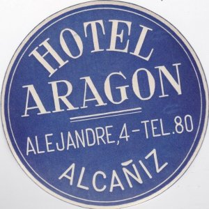 France Alcaniz Hotel Aragon Blue Vintage Luggage Label sk1025