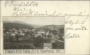 East Fairfield VT Birdseye View c1905 Postcard