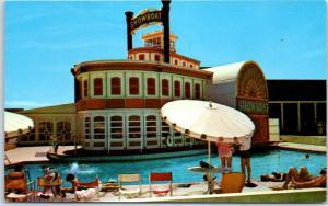 Las Vegas, Nevada Postcard THE SHOWBOAT HOTEL Swimming Pool Scene c1950s Unused
