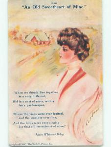 Pre-Linen signed COBB SHINN - JAMES WHITCOMB RILEY QUOTE - OLD SWEETHEART k6650