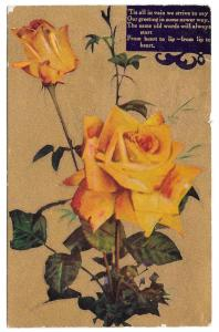 Motto Love Poem Flowers Yellow Roses Gold Cleve & Pitts RPO