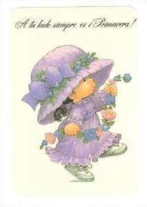 Girl in purple dress & Bonnet, 40-60s