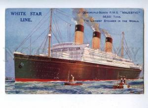 190498 WHITE STAR LINE ship MAJESTIC Vintage postcard