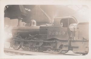 LMS Railway Midland 2F Class 0-6-0 No 22863 Antique Real Photo Train Postcard
