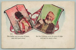 St Patrick's Day~Two Vignettes~Indian w/Pipe Of Peace~Irishman w/Piece Of Pipe