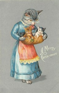 LP69   Mother Cat Kittens  Christmas Holiday Vintage Postcard Tuck Publisher