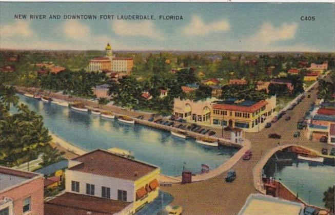 Florida Fort Lauderdale Aerial View New River and Downtown