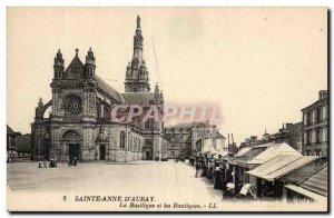 Sainte Anne d & # 39Auray Old Postcard The basilica and shops