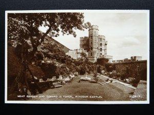 Berkshire WINDSOR CASTLE Moat Garden & Edward Vl Tower c1930s RP Postcard