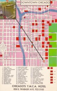 Chicago's Y M C A Hotel and Map Of Downtown