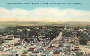 Rawlins Wyoming~Bird's Eye View on Lincoln Highway~1951 Postcard