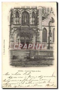 Old Postcard Bourg Portal of the church of Brou