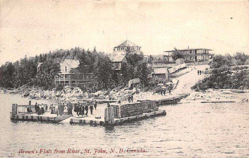 Canada N.B. St. John, Brown's Flats from River 1906