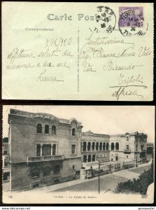 dc541 - France Colonies FRENCH TUNISIA 1926.  TUNIS Postcard to Libya