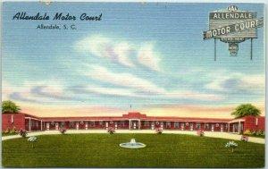 Allendale, South Carolina Postcard ALLENDALE MOTOR COURT Hwy 301 Roadside Linen