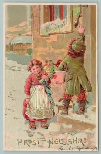 PFB New Year~Lil Boy Reaches For Door Handle~Lil Girl In Apron~Gold Foil Emboss