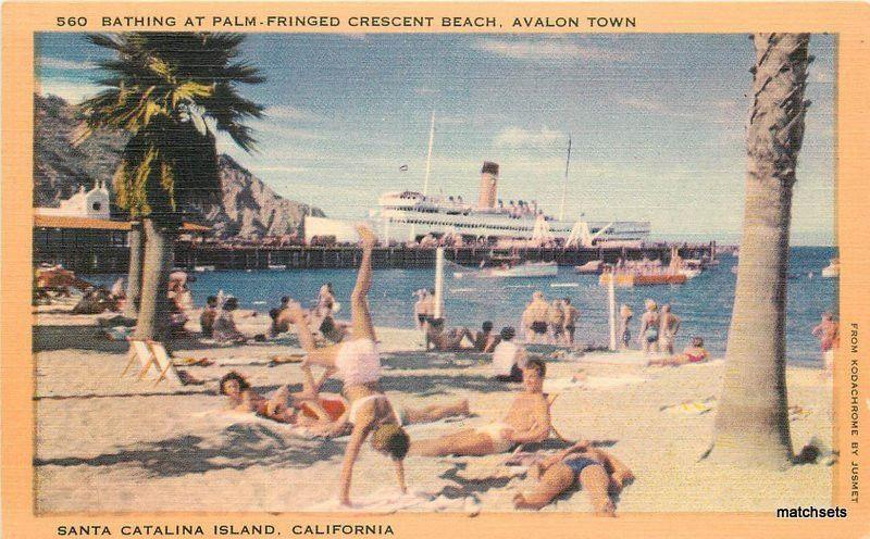 1940s Bathing Palm Fringed Crescent Beach Santa Catalina Island California 11189