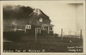 Nashua NH Fire at Williams Street c1920s Real Photo Postcard