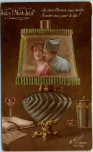 1910s World War I / Romance Postcard Under the Lampshade Girl & Soldier UNUSED
