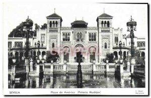 Old Postcard Plaza de America Sevilla Mudejar Palacio