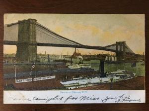 1906 View of Brooklyn Bridge & Brooklyn; Hartford & Middletown Direct Line d19