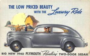 1940 Low Priced Beauty Plymouth Roadking Original Advertising Linen Postcard