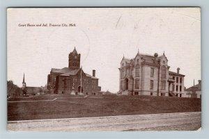 Traverse City MI-Michigan, Courthouse And Jail, Vintage c1915 Postcard