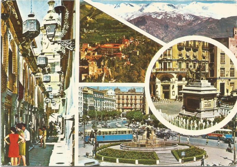 Tram Trolley Buses Views of Granada Spain Postcard With 2 Commermorative Stamps