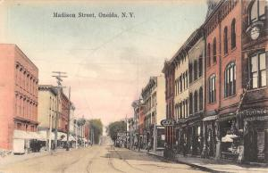 Oneida New York Madison Street Scene Historic Bldgs Antique Postcard K82005