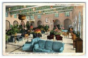 LEWISTON, Idaho ID ~ Victory Room Lobby LEWIS CLARK HOTEL ca 1920s Postcard