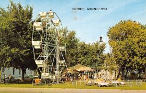 Spicer Minnesota Amusement Park Ferris Wheel Antique Postcard K60123