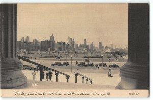 Chicago Skyline from Granite Columns of Field Museum - 1933 World Fair Postcard