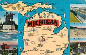 Michigan MI Map Card 1953