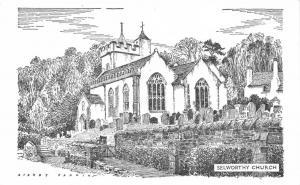 Postcard Art Sketch Drawing SELWORTHY Church SOMERSET by Sidney Perrin #4