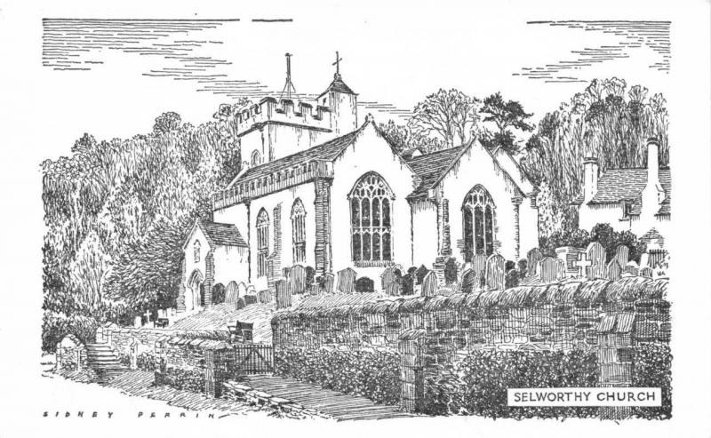 Postcard Art Sketch Drawing SELWORTHY Church SOMERSET by Sidney Perrin #4