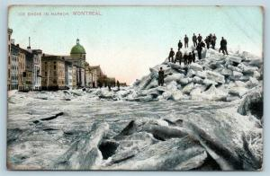 Postcard Canada Quebec Montreal Ice Shove in Harbor c1914 View Q11