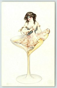 Schmucker The Drinkers Series~Martini~Fantasy Lady in Goblet~Detroit Pub~1907