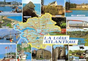 Postcard Map & Multiview La Loire Atlantique, Nantes, France B70