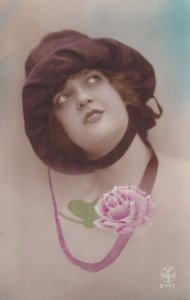 RP: Portrait of woman wearing velvet hat, Pink Rose, 1900-10s