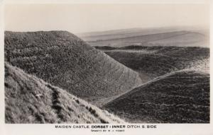 Maiden Castle Dorset Inner Ditch South Side Real Photo Postcard