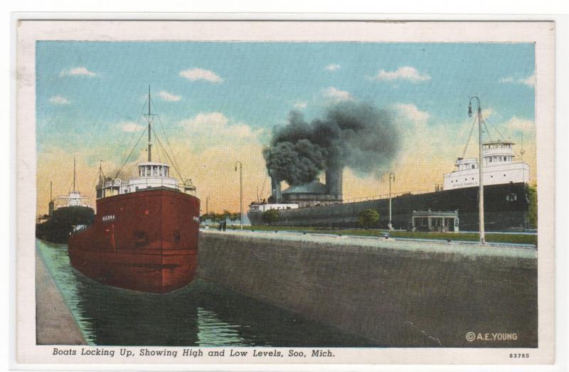 Steamers Great Lakes Ship Locking Up Soo Michigan linen postcard