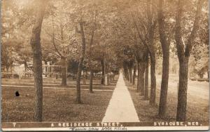 Syracuse Nebraska~Residential Street~Mrs Nick Klein Here Yesterday~1910 RPPC