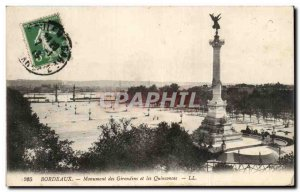 Old Postcard Bordeaux Girondins Monument and Inconjunctions