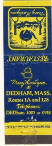 Dedham, Massachusetts/MA Match Cover, Mary Harligan Restaurant