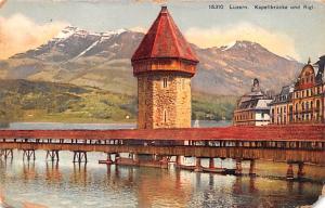 Switzerland Old Vintage Antique Post Card Luzern Kapellbrucke und Rigi 1913