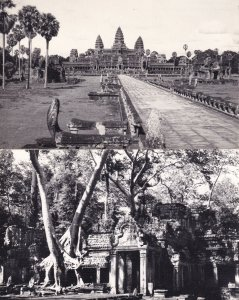 Second Gopura Preah Khan Angkor Thom Siemreap Antique Cambodia 2x RPC Postcard