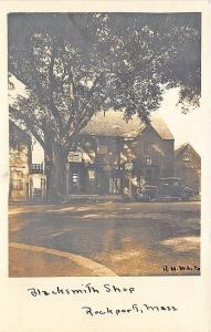 Rockport MA Blacksmith Shop R. H. White Photo RPPC Postcard