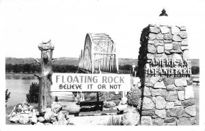 Chamberlain South Dakota~American Island Park Bridge~Floating Rock~1940s RPPC