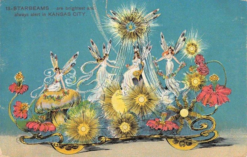 Starbeams Priests of Dallas Parade Float Fairies 1908 Kansas City, MO Postcard