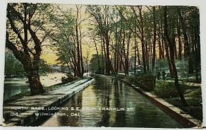 Delaware North Race Looking S.E. from Franklin St Wilmington 1909 Postcard I9